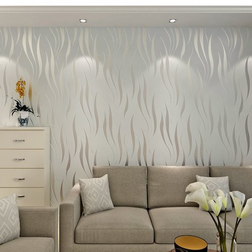 Papel de pared decorativo pintado color gris plata
