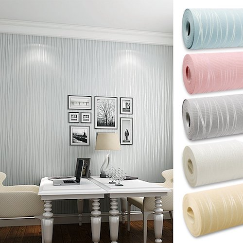 Papel de pared decorativo pintado color gris plata papel for Papel decorativo pared