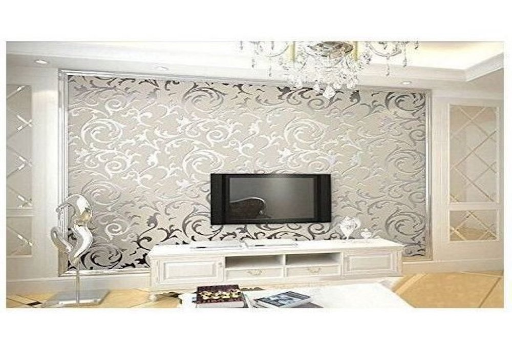 Papel de pared pintado decorativo color gris plateado