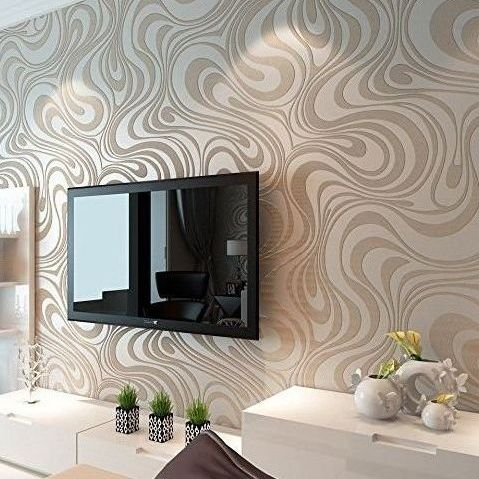 Papel de pared decorativo pintado con rayas curvas papel for Papel de pared decorativo