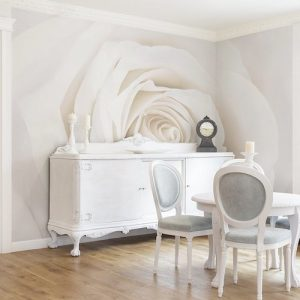 Papel de pared pintado Pretty White Rose